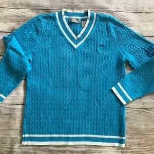 Vintage Cabled Varsity V Neck Sweater Tennis Prep
